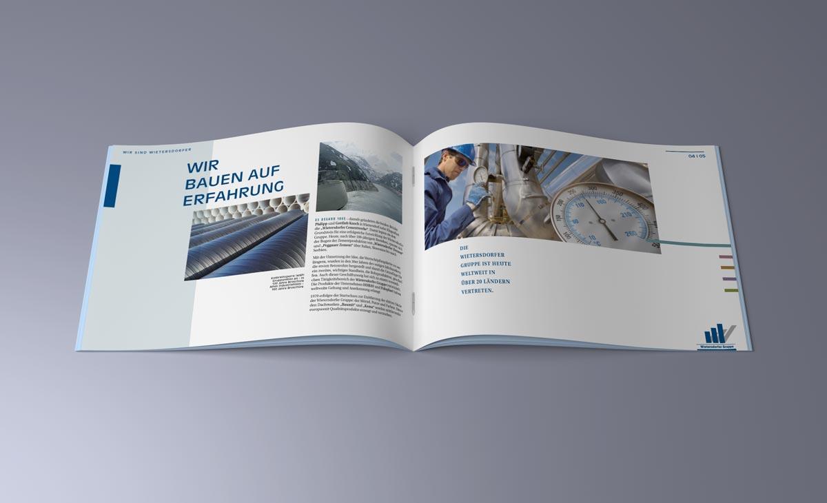 Image-Broschüre für die WIG Wietersdorfer Holding GmbH. Doppelseite 1