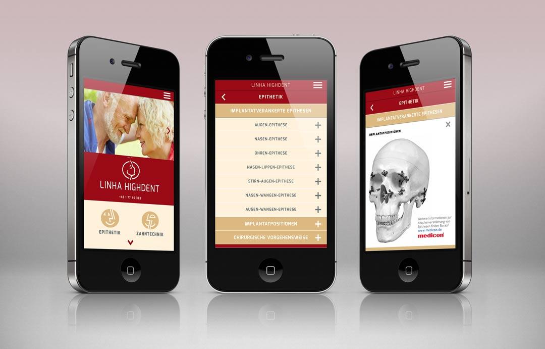 Epithesen Linha Highdent App auf iPhone 4
