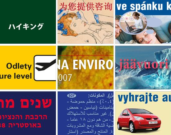 Satzbeispiele auf japanisch, tschechisch, chinesisch, hebräisch, arabisch, englisch und finisch.