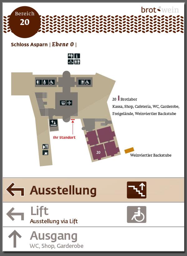 """Niederösterreichische Landesausstellung """"Brot & Wein"""", Asparn, Leitsystem"""