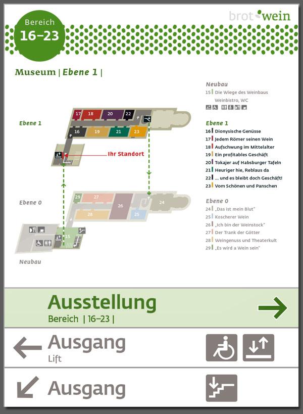 """Niederösterreichische Landesausstellung """"Brot & Wein"""", Poysdorf, Leitsystem"""