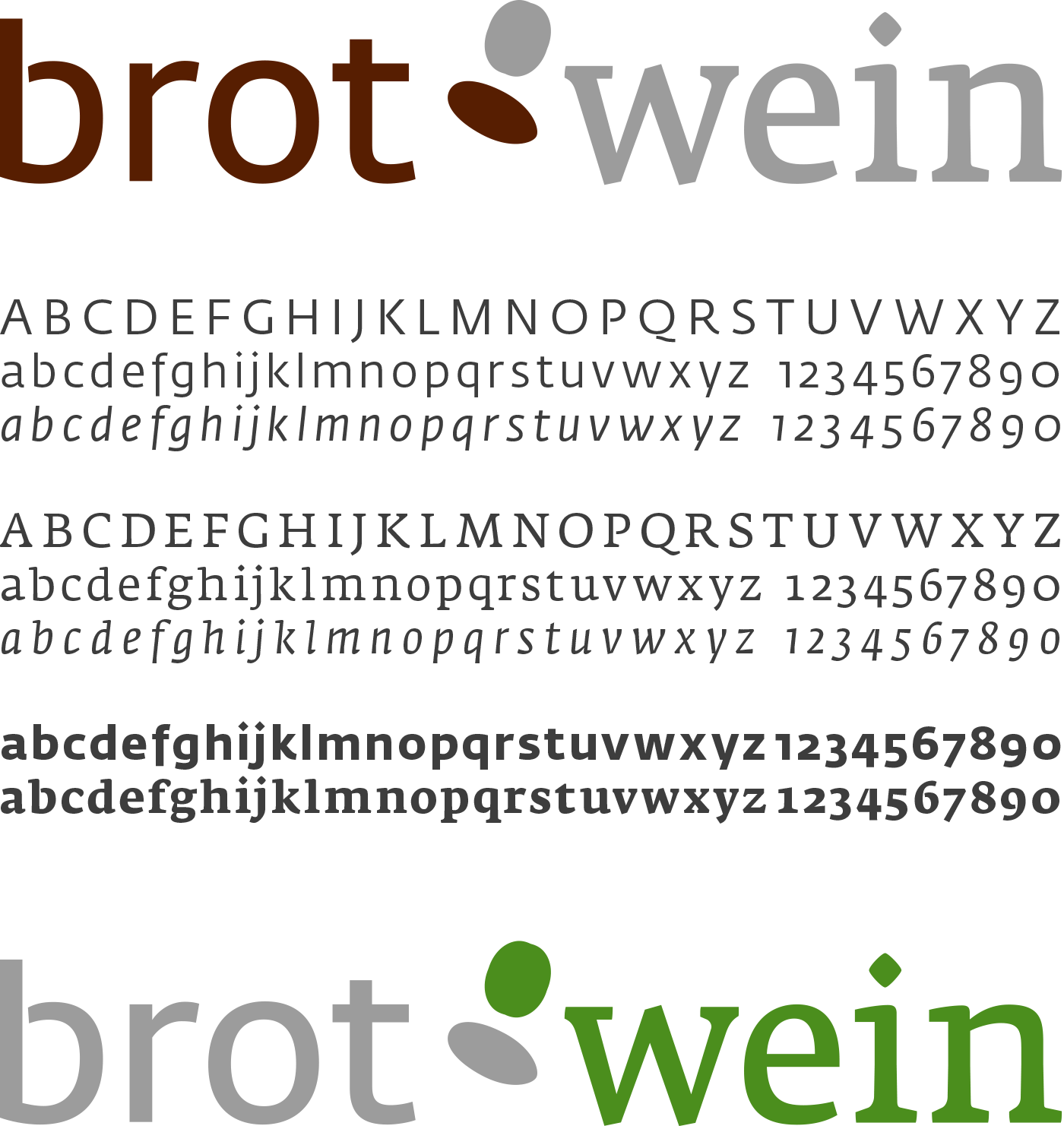 """Niederösterreichische Niederösterreichische Landesausstellung """"Brot & Wein"""", Logo und Fedra Font"""