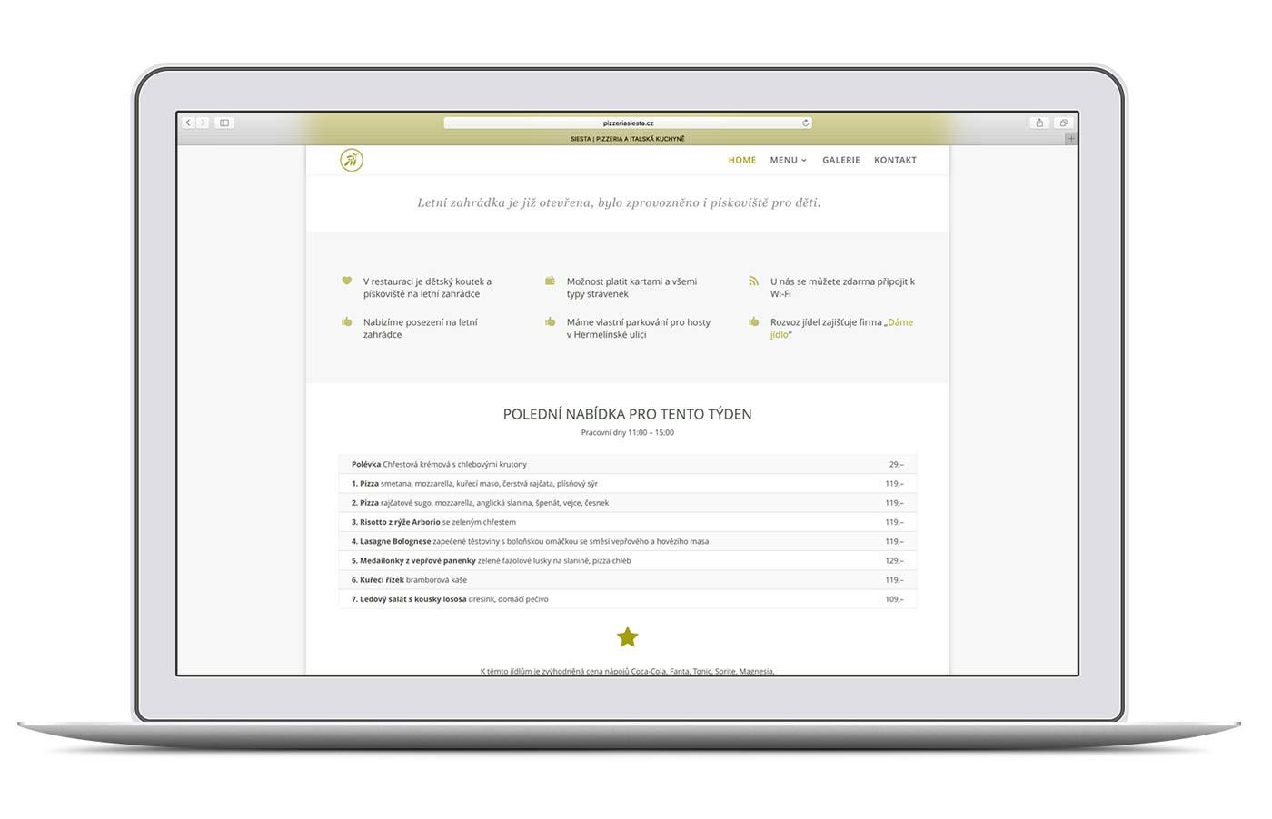 Restaurant Siesta Angebot auf einem iBook