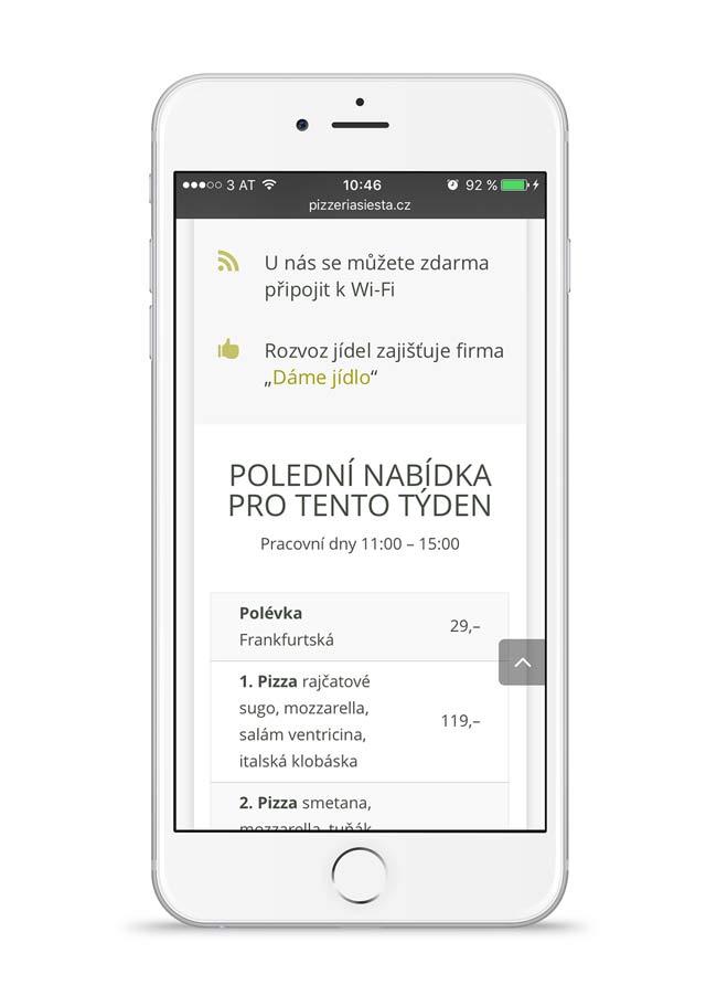 Restaurant Siesta Angebot auf einem iPhone